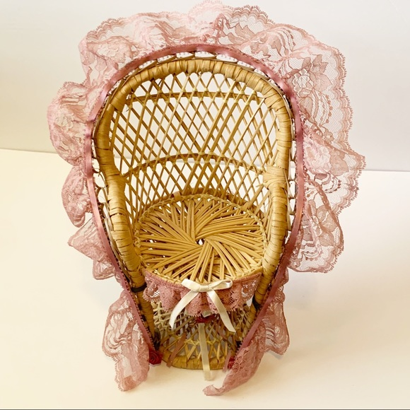 Vintage Wicker Peacock Chair Pink Lace Edging